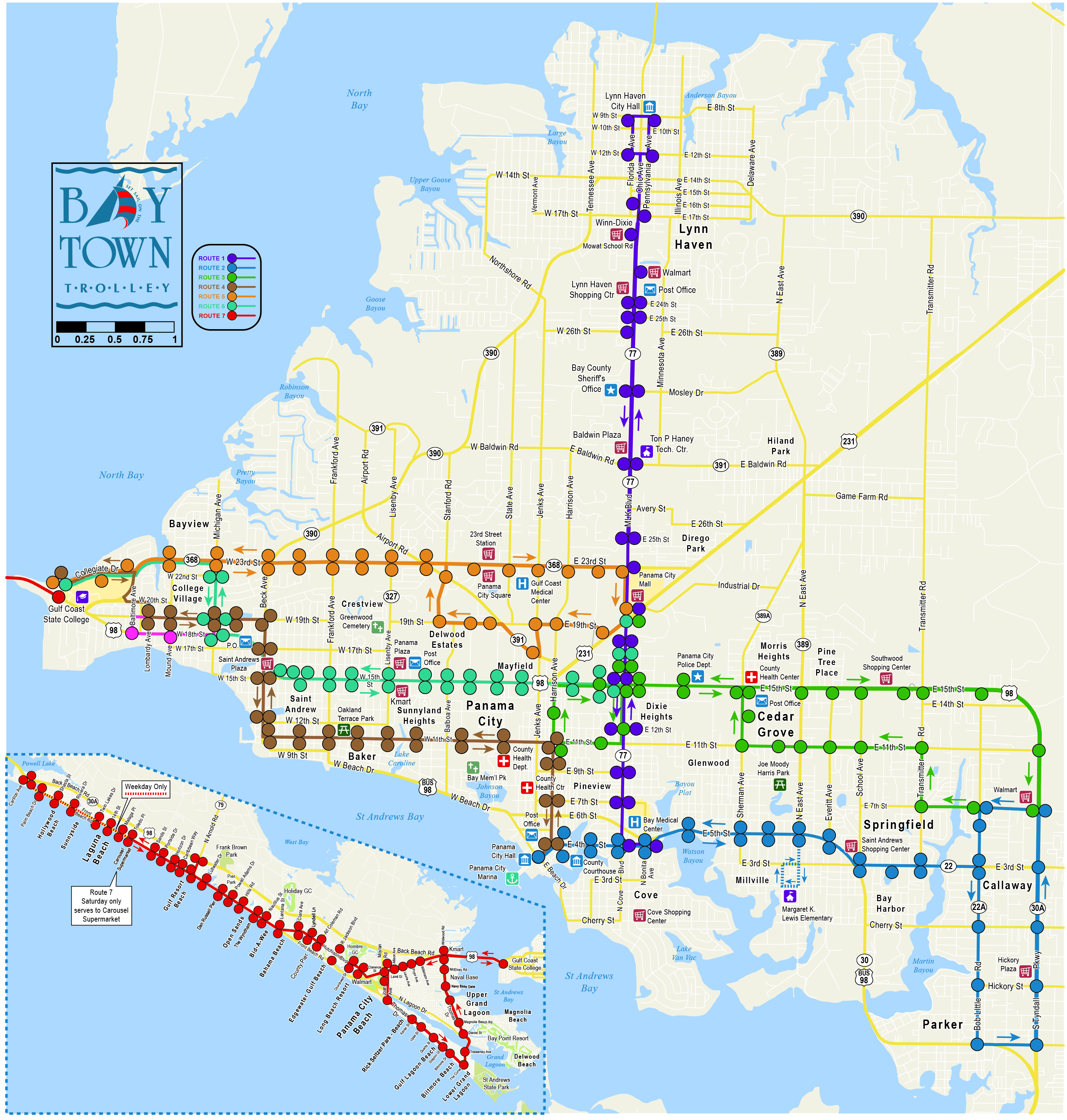 Bay Town Trolley System Map