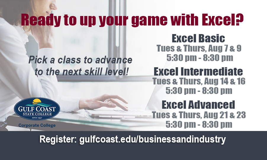 corporate college microsoft excel courses bay county chamber of