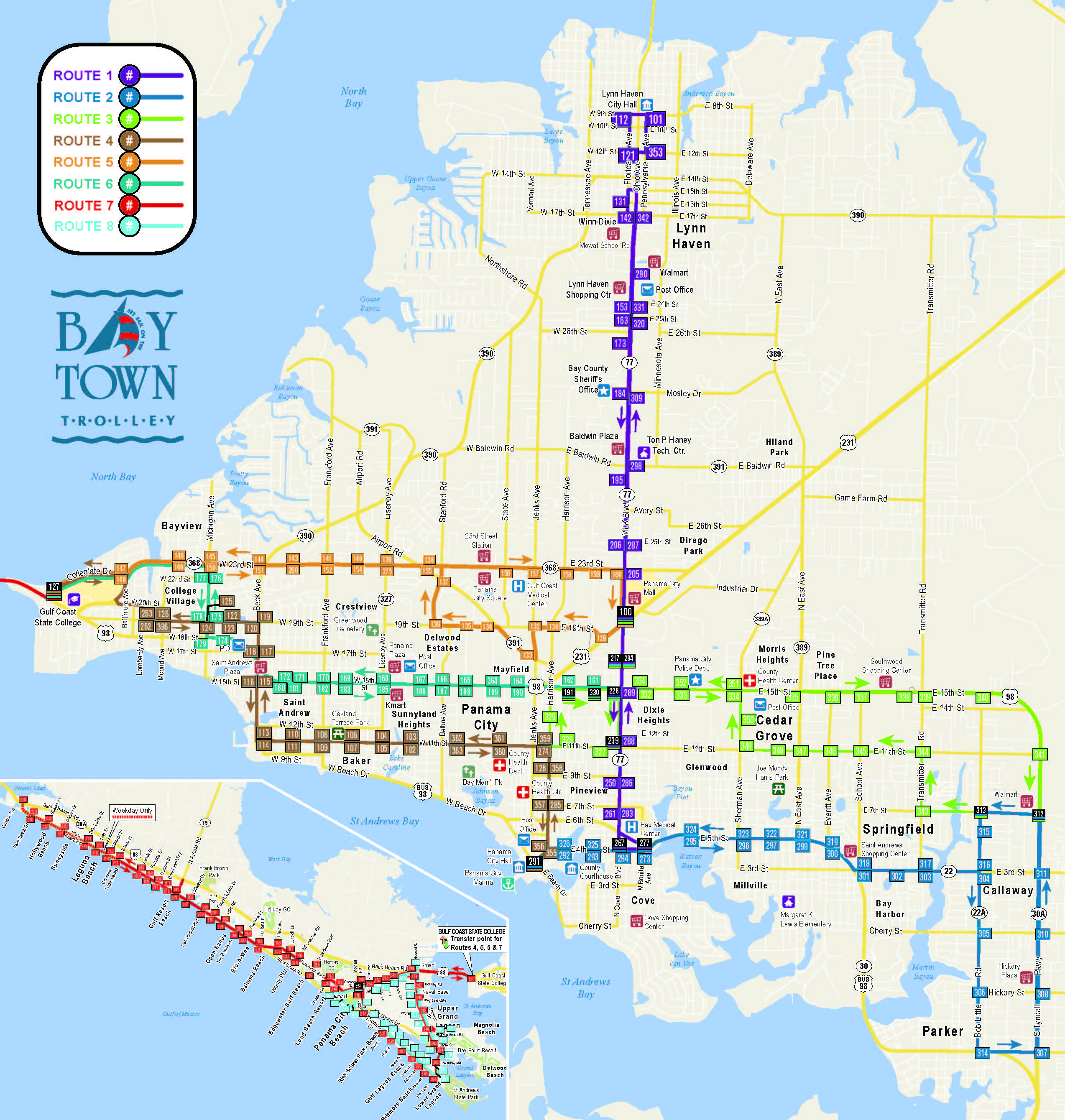 2019 Bay Town Trolley Route Map