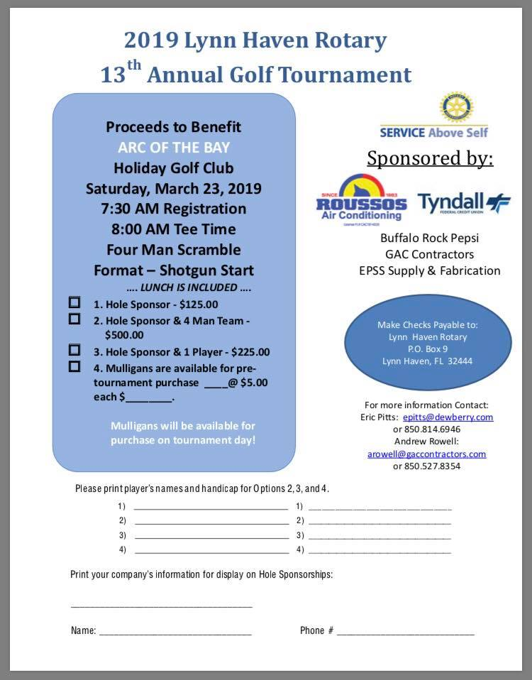 13th Annual Lynn Haven Rotary golf tournament Sign up