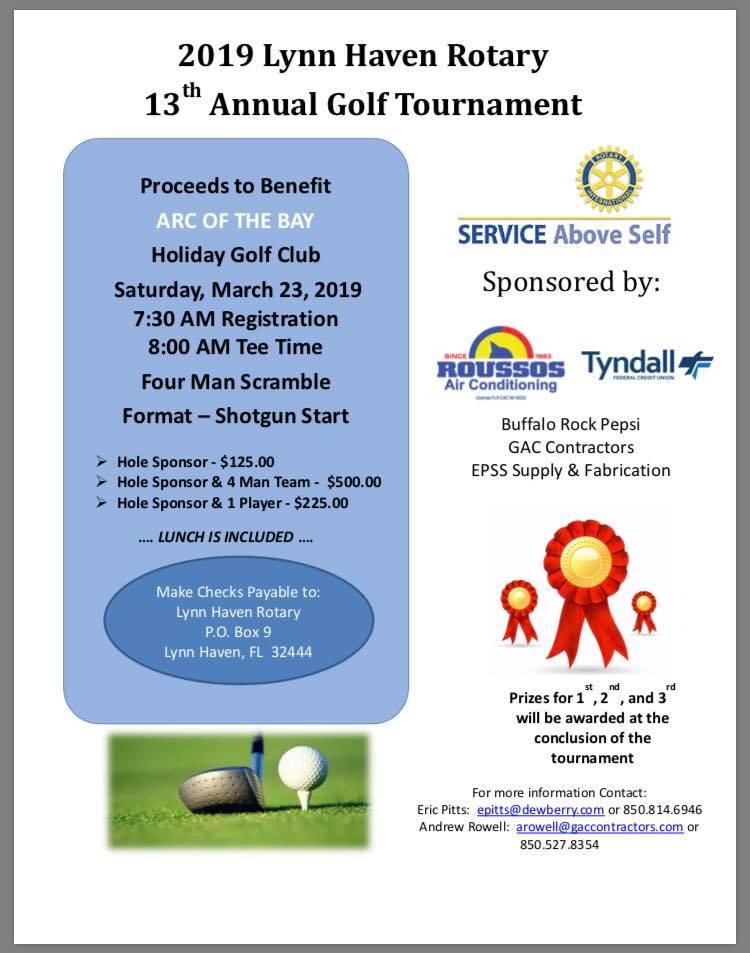 2019 13th Annual Lynn Haven Rotary Golf Tournament