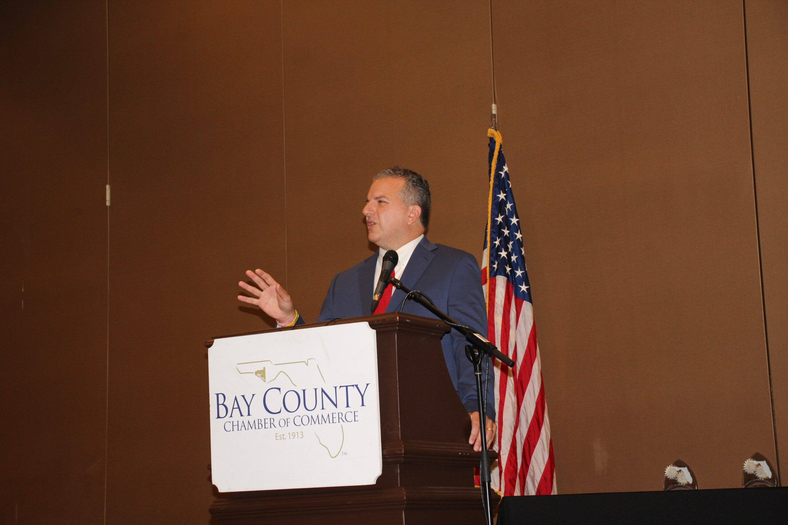 Jimmy Patronis presents at the 2020 Industry Appreciation Celebration Awards Breakfast